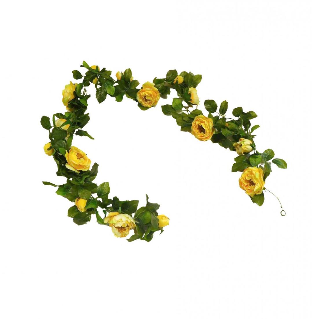 Rosengirlande Girlande Kunstblumen Rosen künstlich 160 cm gelb 15-1344-57 F8