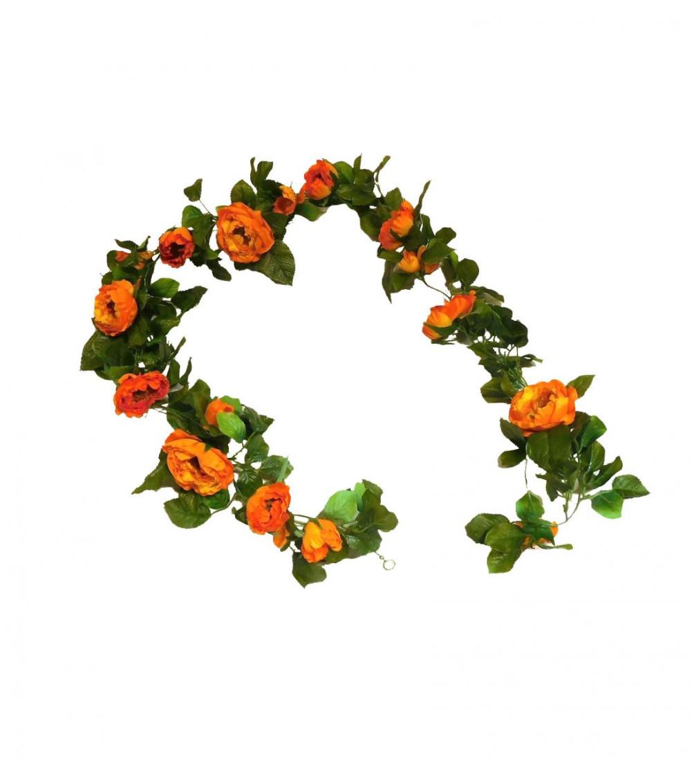 künstliche Rosengirlande Girlande Deko Dekogirlande unecht Kunstblume Kunst Blume Seidenblumen Rosen 160 cm orange 15-1344-64 F8