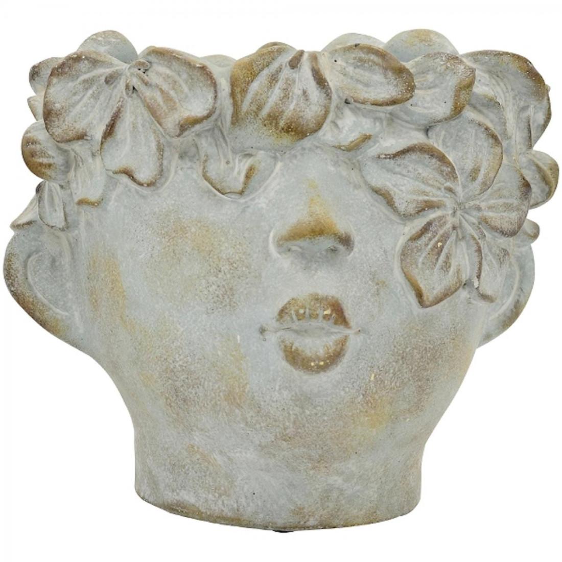Büste Kinderkopf Pflanztopf Pflanzkopf Antiklook antik Keramik Blumentopf Kopf Figur Dekofigur Vintage Shabby grau creme (klein 240490)