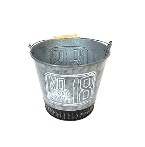 Metall Eimer Blecheimer NO. 18 Blumentopf Übertopf Pflanztopf Topf Shabby Landhaus Vintage Gartendeko Garten Deko Dekoration Metall Blech grau F50 (klein 663081347)