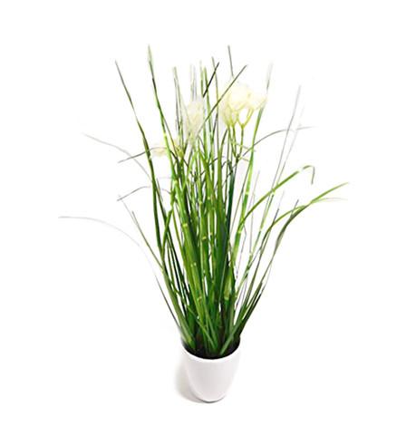 Gras Grasbusch Kunstgras Dekogras Deko Ziergras Kunstpflanze Kunst Pflanze Dekopflanze Topfpflanze Kunstblume Blume künstlich unecht Topf grün weiß 35 cm 56727-05-3 getopft F43