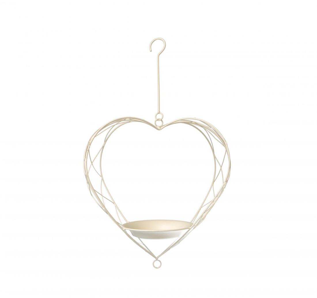 Blumenampel hängeampel Metall Herz Pflanzampel ampel pflanzenhalter zum aufhängen Futterschal Vogeltränke Weiß SW190105