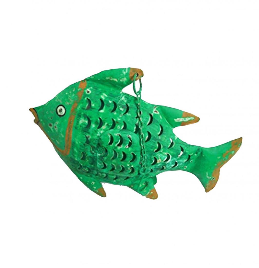 """Metall Fisch Kanu """"Fietje"""", Metall, 47x8x31 cm, Laterne Windlicht Grün"""