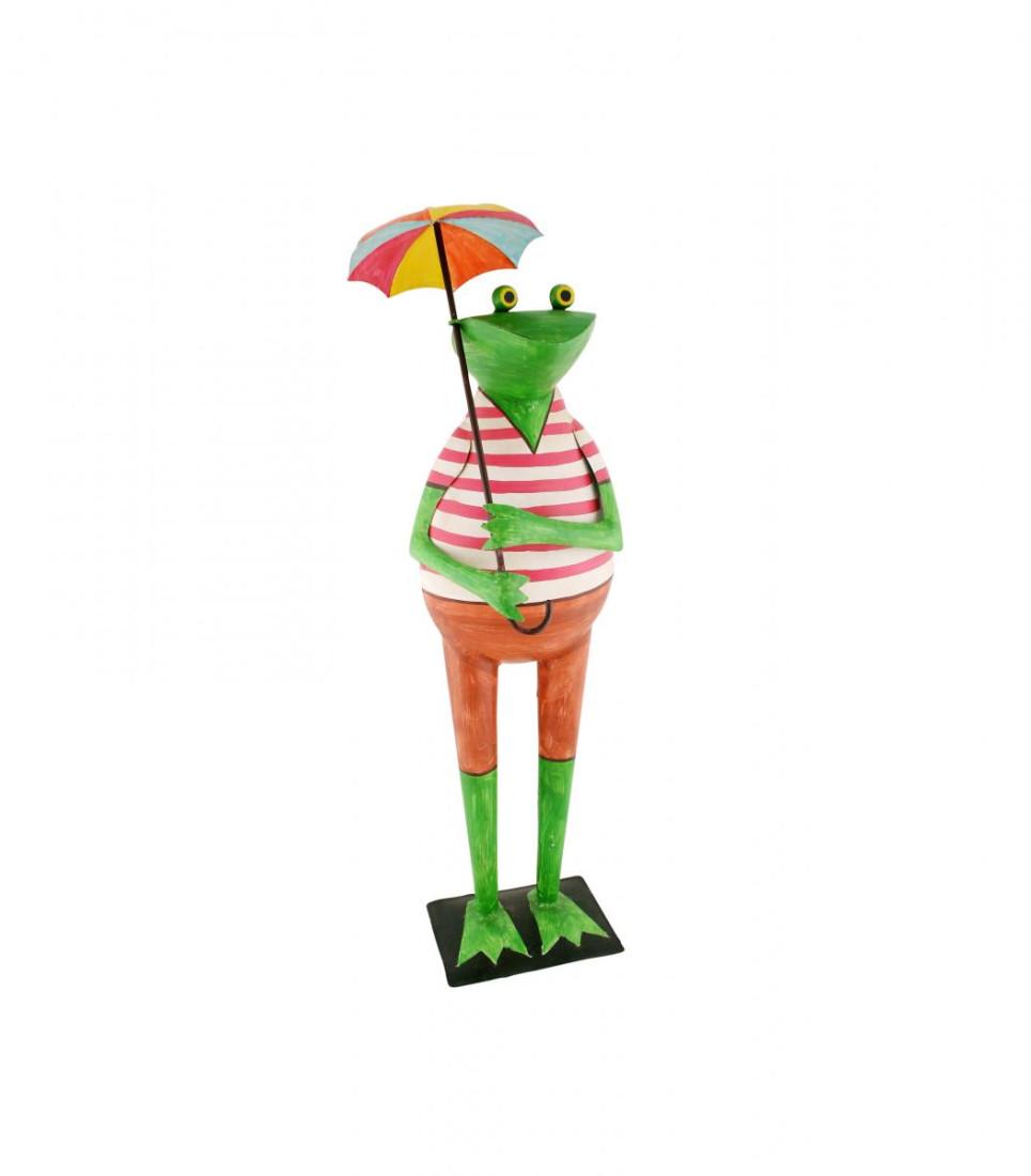 Metall Frosch mit Schirm Sonnenschirm Regenschirm Kanu Gartenfrosch Dekofrosch Gartendeko Dekofigur Figur Metall H 85 cm 217113