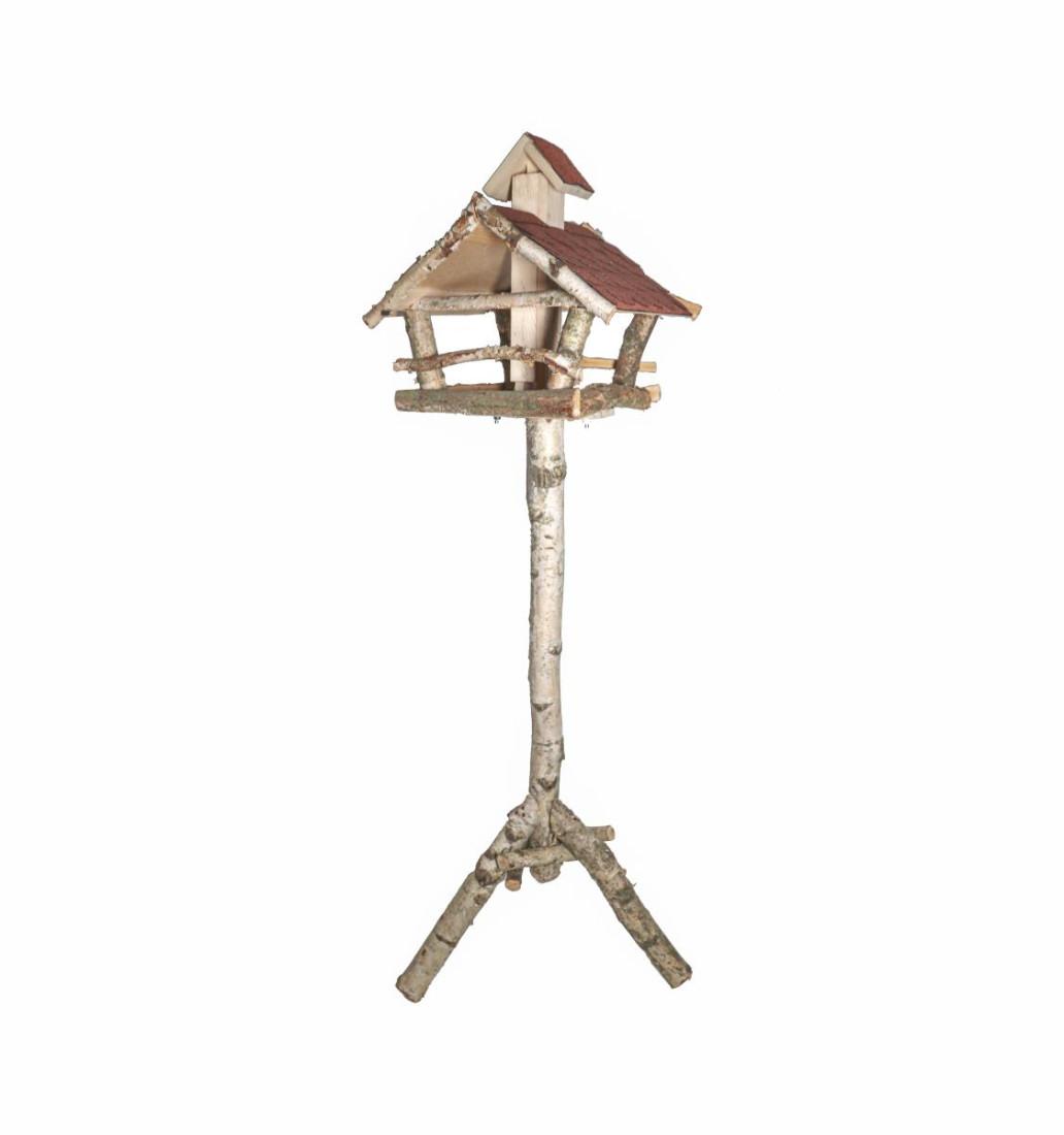 Vogelhaus Futterhaus mit Ständer Dreibein-Fuß Futtersilo Futterschacht 147 cm Birke Birkenholz Massivholz Naturholz Holz Natur Bitumen Schindeln 1388
