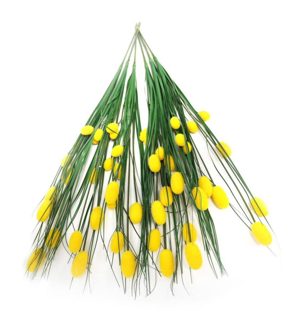 Grasbündel mit Pompom 6-tlg. Set Kunstgras Blüten Grasstiel Set Kunstblume Blume künstlich 70 cm gelb 010295G F8