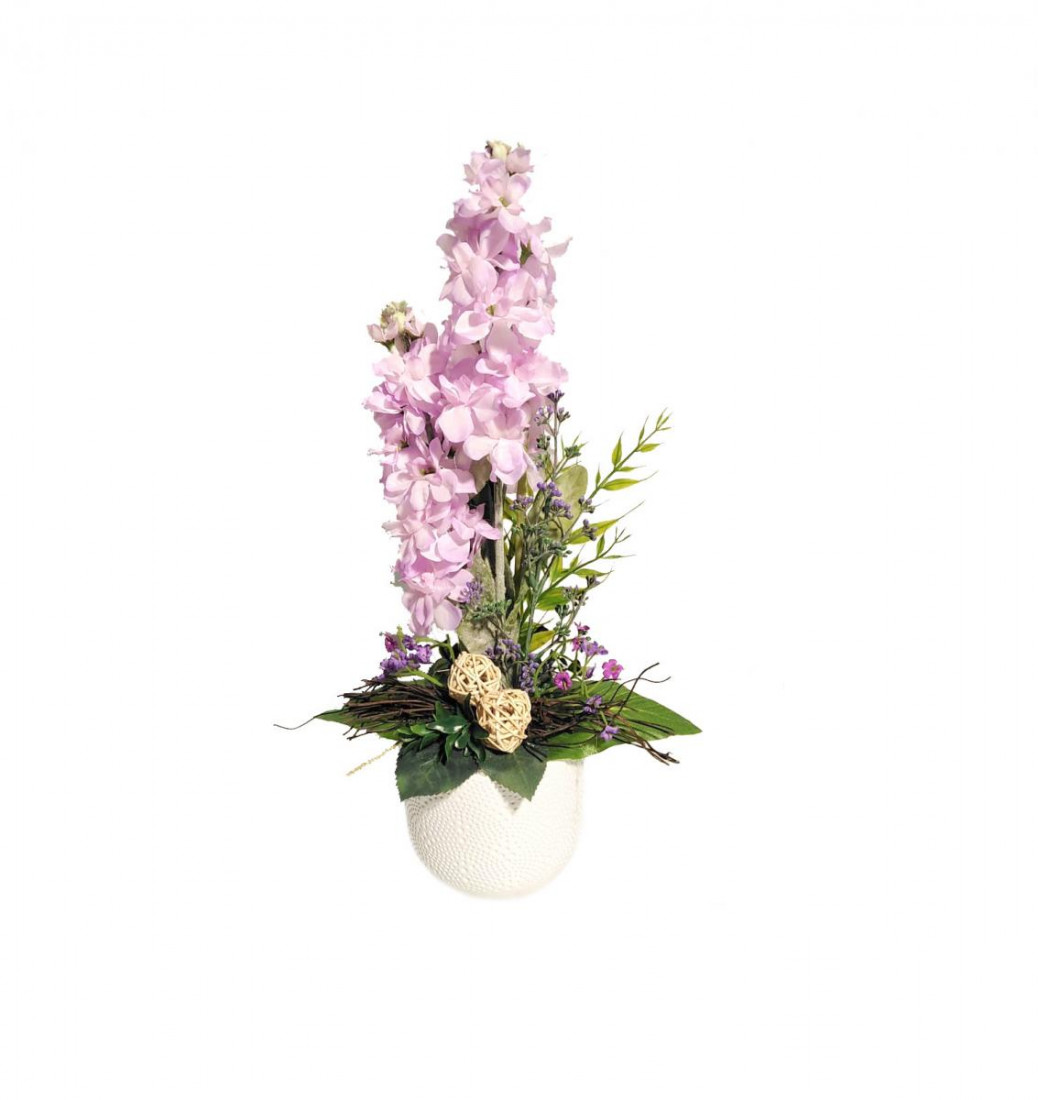 Blumengesteck Tischgesteck Tischdeko Rittersporn Kunstblume Dekoblume künstlich Kunst Blume unecht Topf H 40 cm (Lavendel) 124