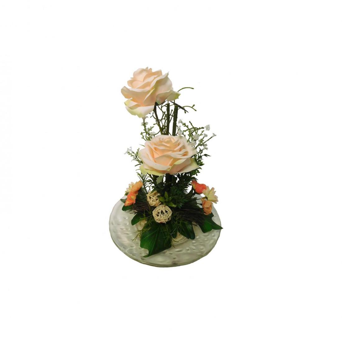 Rosengesteck 2 Rosen Blumengesteck Gesteck Rose Tischgesteck Tischdeko Kunstblume Dekoblume künstlich Kunst Blume unecht H 25 cm (Creme N-12172-0)