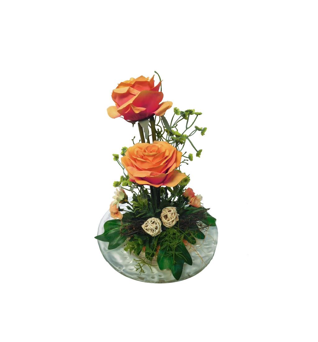Rosengesteck 2 Rosen Blumengesteck Gesteck Rose Tischgesteck Tischdeko Kunstblume Dekoblume künstlich Kunst Blume unecht H 25 cm (orange N-12172-5)