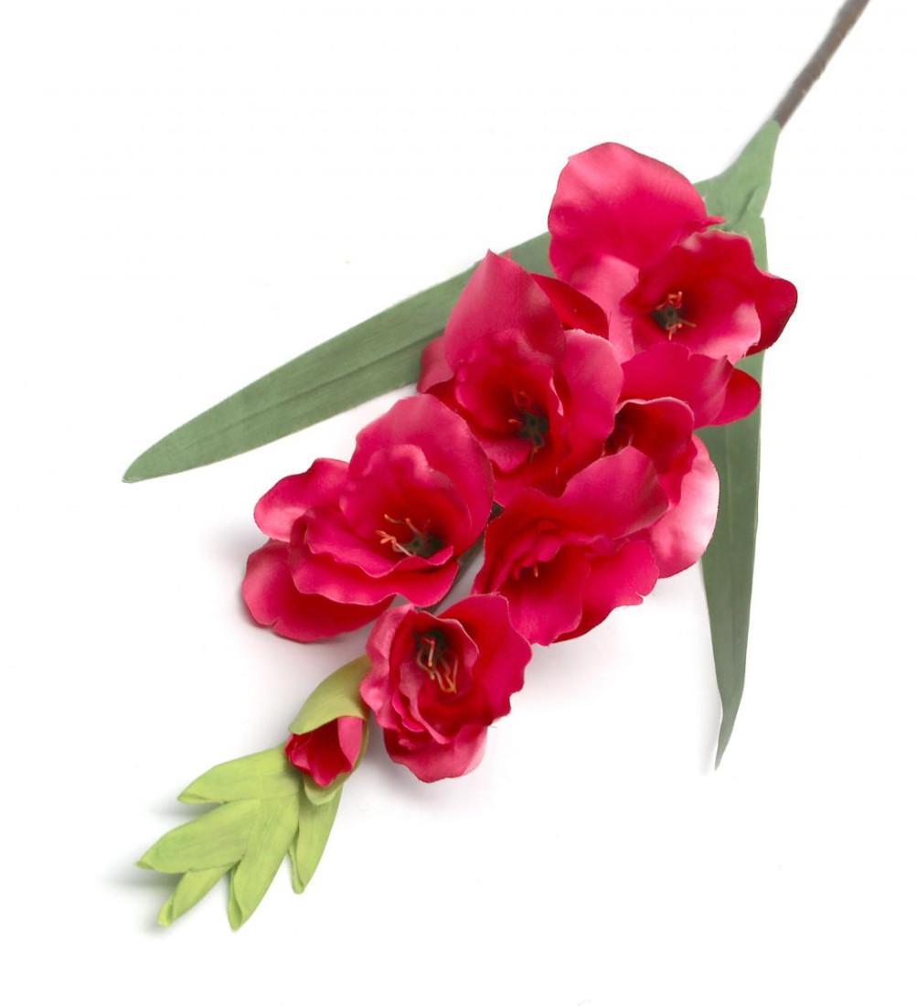 Gladiole Kunstblume Blumen Künstlich Kunstpflanze Deko Haus Hochzeit Magenta Höhe 90cm N-12240-6