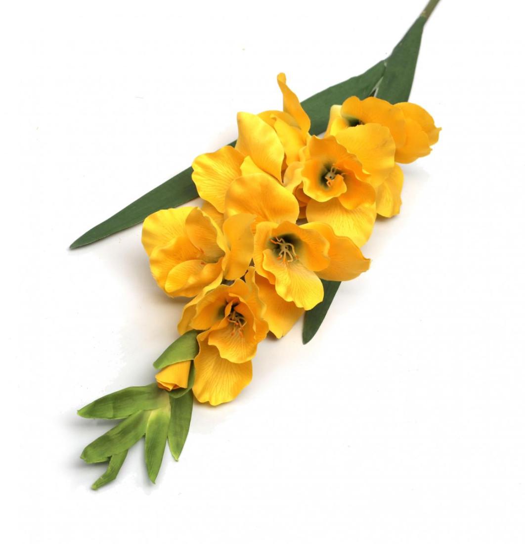 Gladiole Kunstblume Blumen Künstlich Kunstpflanze Deko Haus Hochzeit Gelb Höhe 90cm N-12240-2