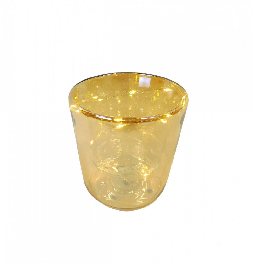 Glas Topf Vase Blumenvase Blumentopf Übertopf LED beleuchtet Beleuchtung doppelwandig 13 cm braun Gold D13H14 F18