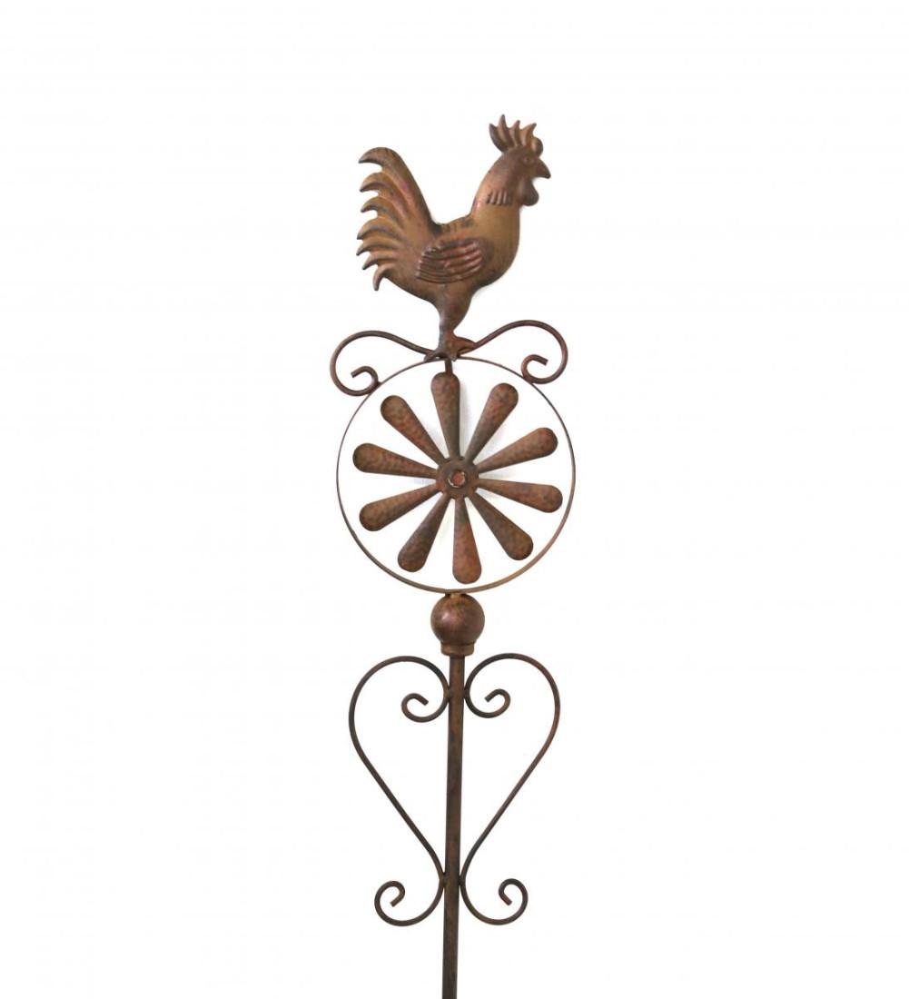 Rankstab Windspiel Windrad Hahn Gartenstecker Metall braun Gartendeko Garten Deko 150 cm