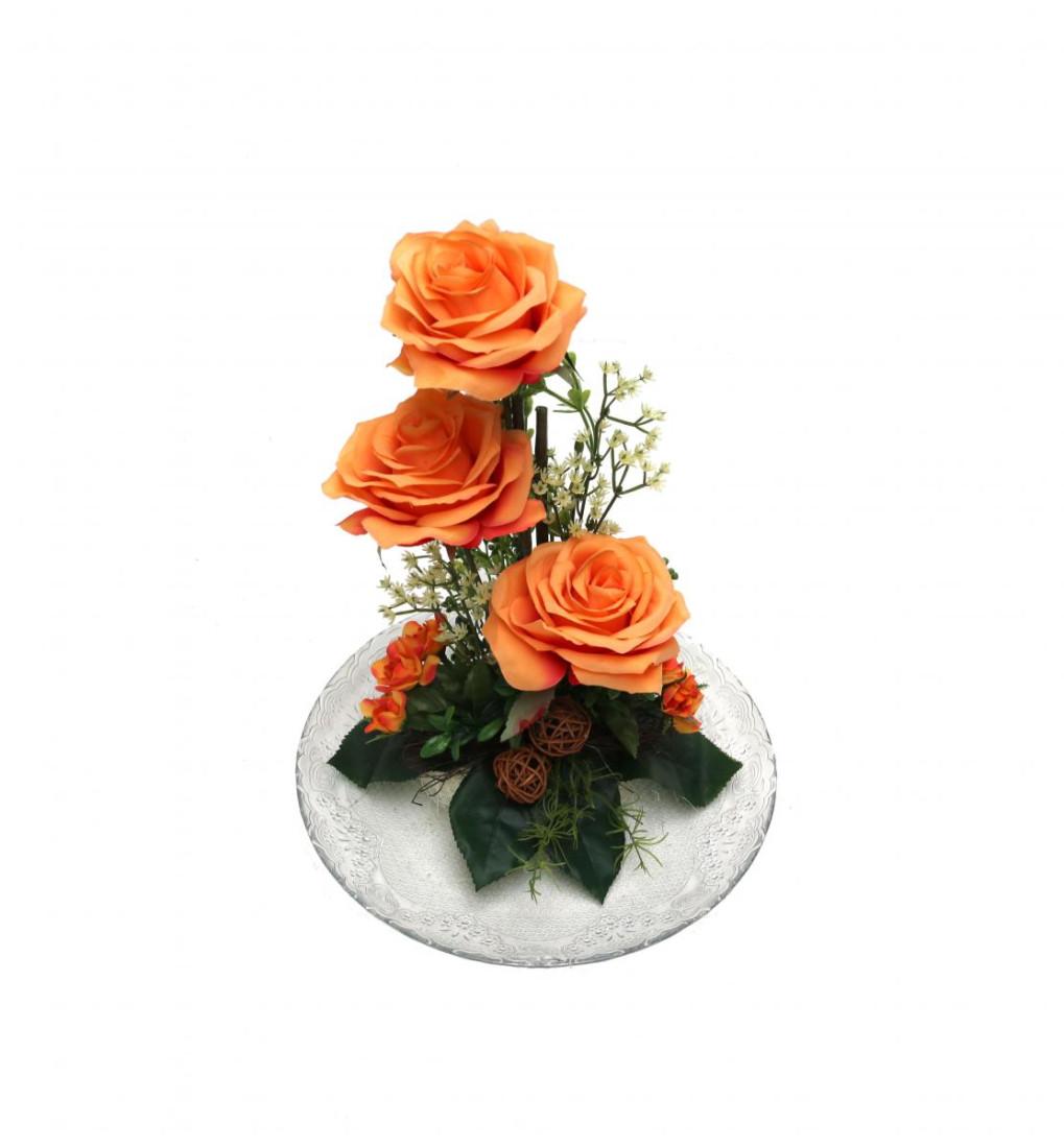 Rosengesteck Blumengesteck Tischgesteck Tischdeko Handgefertigt Höhe: 32cm 3 Rosen Rose N-12172-5 Orange