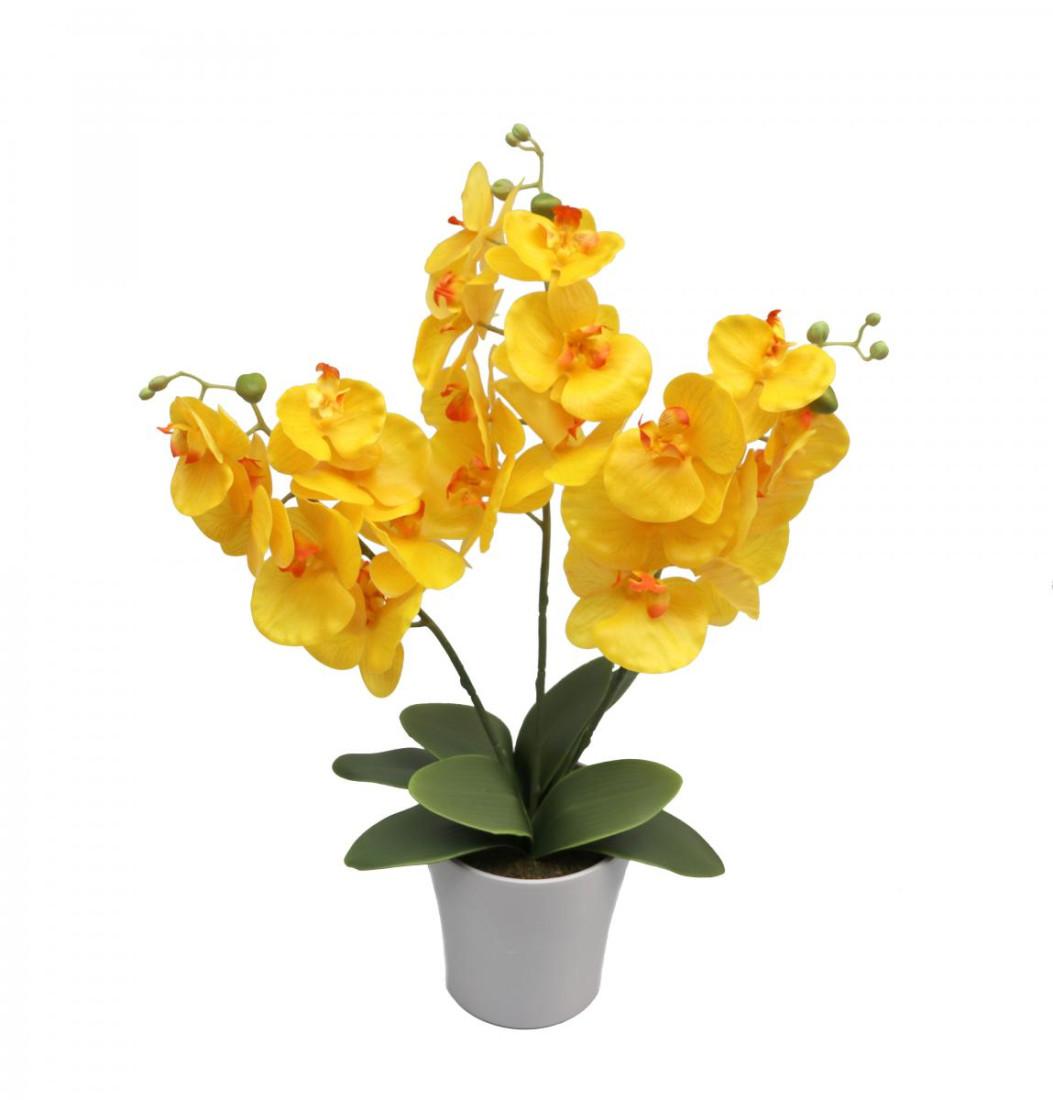 Orchideentopf Kunstorchidee Real Touch Kunstpflanze künstlich Kunstblume H ca. 63cm getopft Orchideegestecke RT-Gelb - 3stiele PM0085