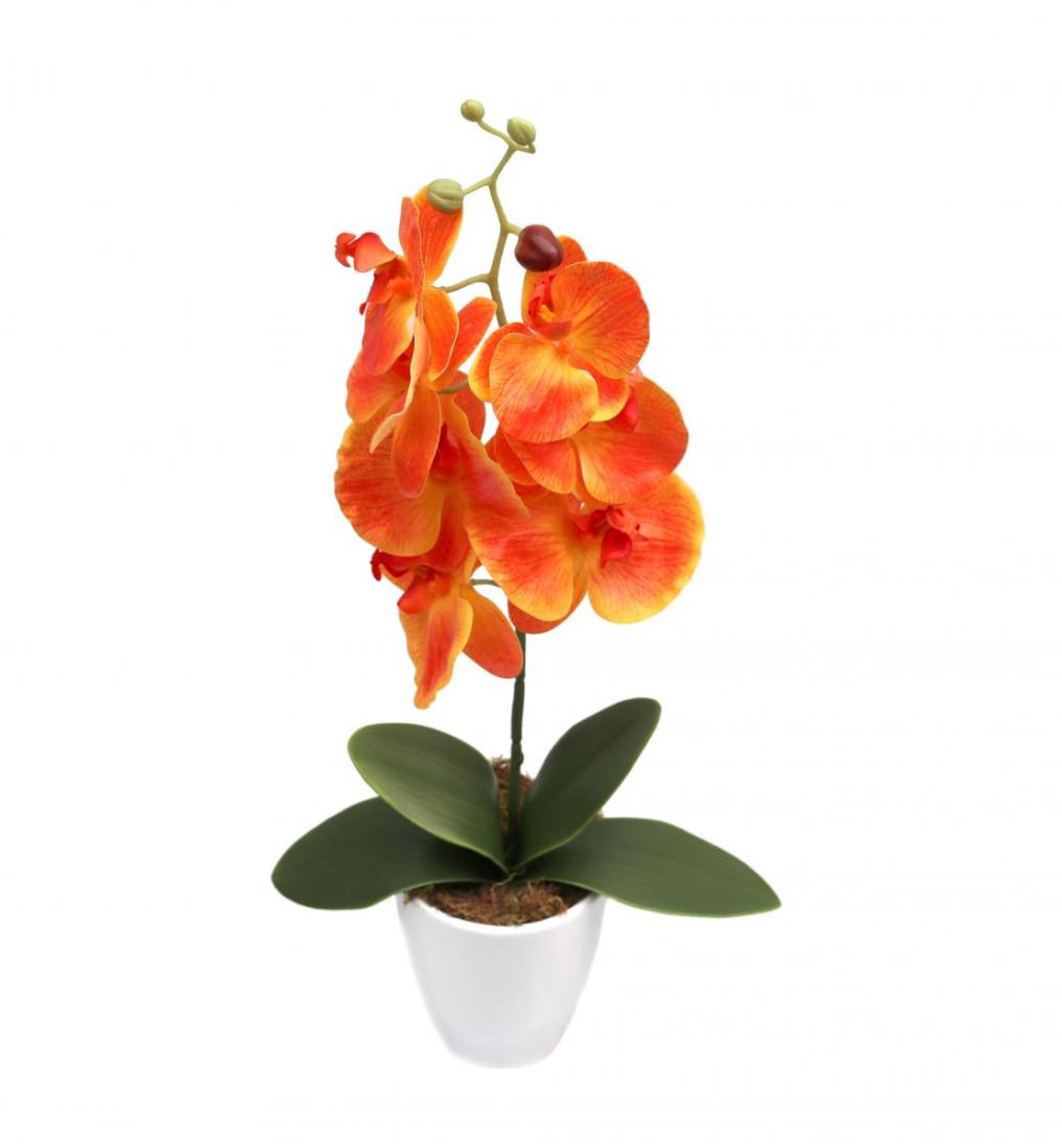 Orchideentopf Kunstorchidee Real Touch Kunstpflanze künstlich Kunstblume H ca. 63cm getopft Orchideegestecke RT-Orange - 1stiele PM0084