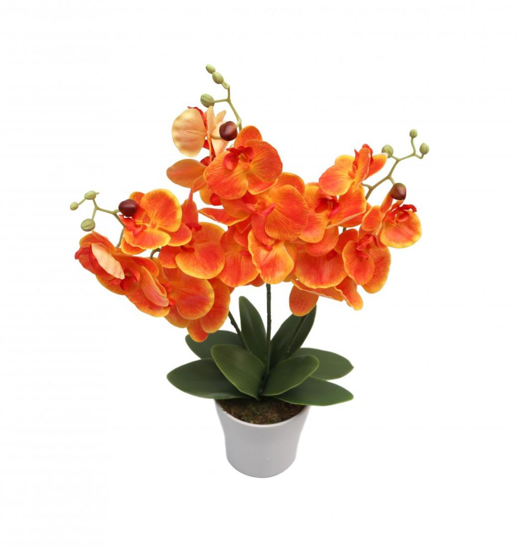 Orchideentopf Kunstorchidee Real Touch Kunstpflanze künstlich Kunstblume H ca. 63cm getopft Orchideegestecke RT-Orange - 3stiele PM0082