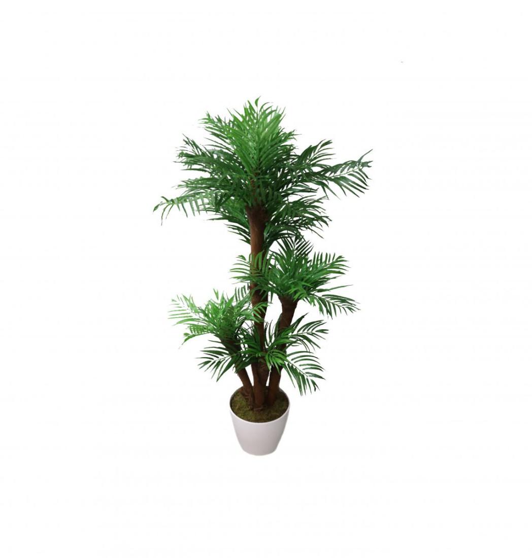 Künstliche Palme | Kunstpalme Zimmerpalme Wohnzimmer Areca | Dekopflanze Getopft Höhe: ca. 150cm (weiß keramik topf)