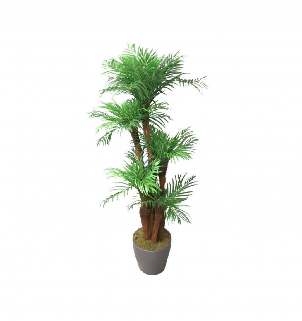 Künstliche Palme | Kunstpalme Zimmerpalme Wohnzimmer Areca | Dekopflanze Getopft Höhe: ca. 150cm (grau)