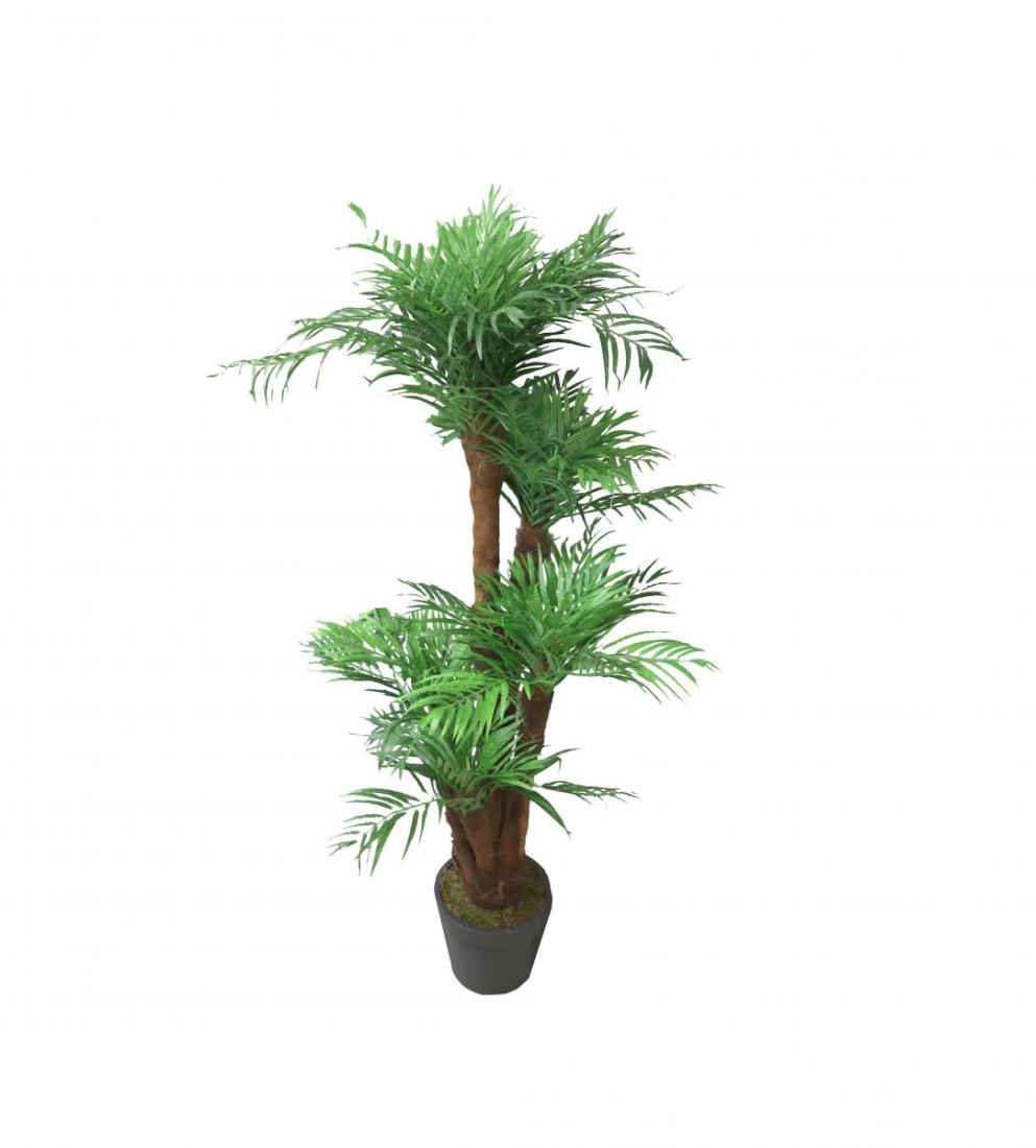 Künstliche Palme | Kunstpalme Zimmerpalme Wohnzimmer Areca | Dekopflanze Getopft Höhe: ca. 150cm (Topf dunkel grau) 326026-50