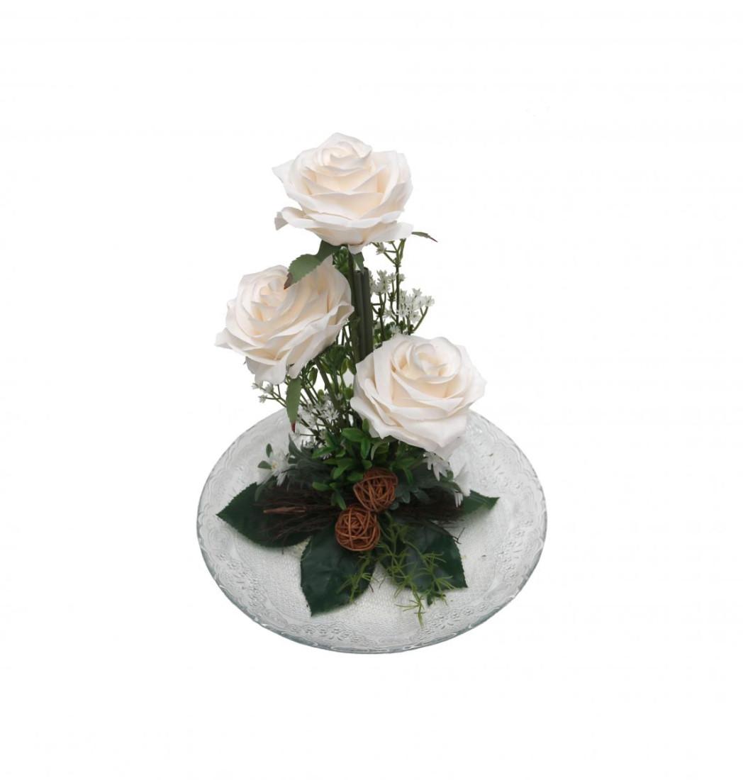 Rosengesteck Blumengesteck Tischgesteck Tischdeko Handgefertigt Höhe: 32cm 3 Rosen Rose N-12172-0 creme