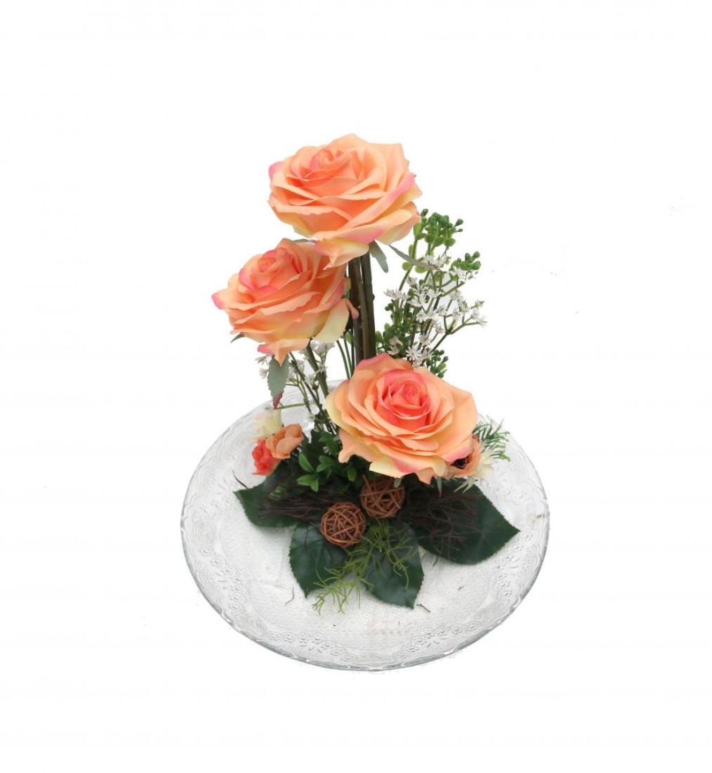 Rosengesteck Blumengesteck Tischgesteck Tischdeko Handgefertigt Höhe: 32cm 3 Rosen Rose N-12172-4 Lachs
