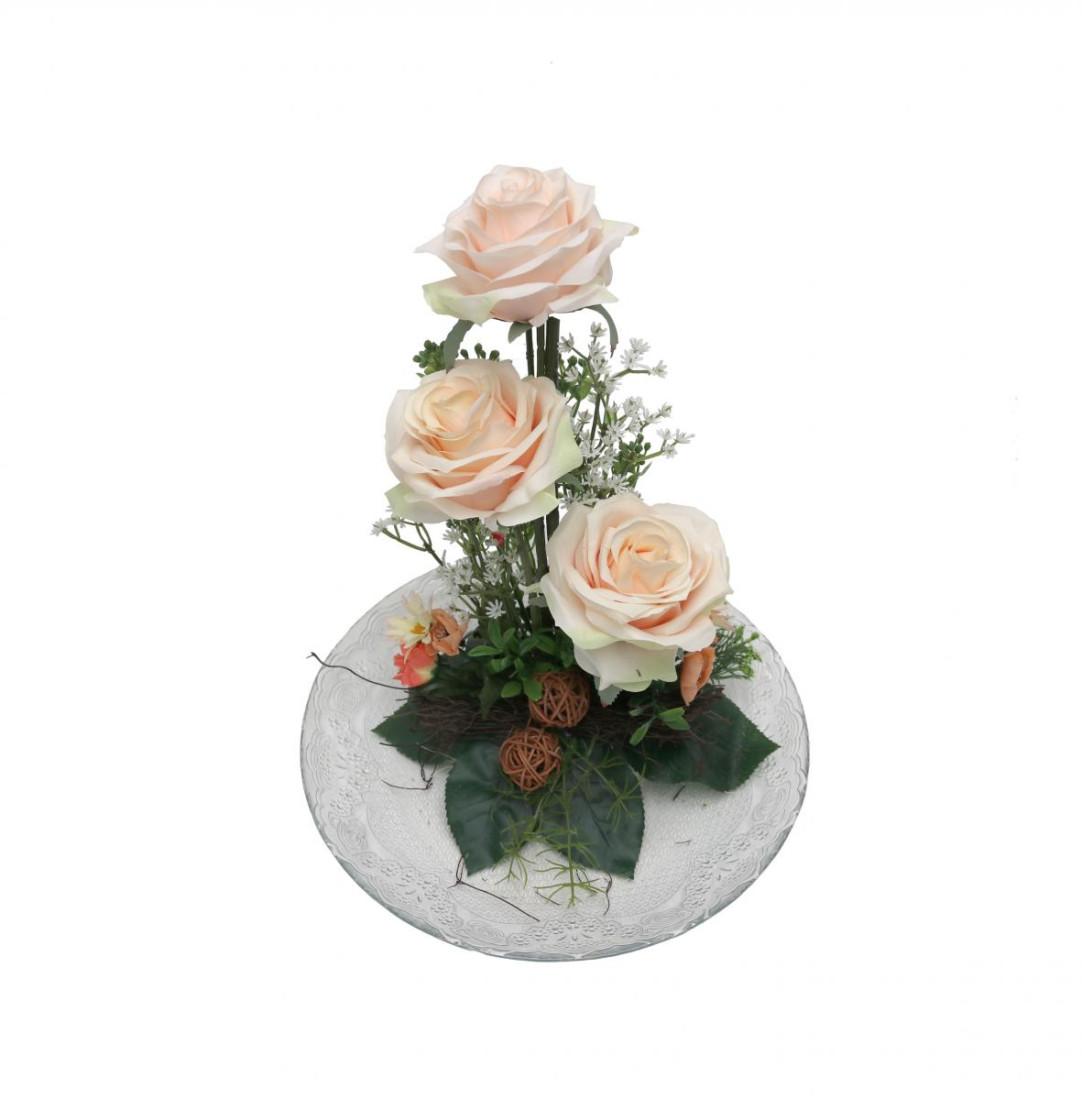Rosengesteck Blumengesteck Tischgesteck Tischdeko Handgefertigt Höhe: 32cm 3 Rosen Rose N-12172-8 Creme Rosa