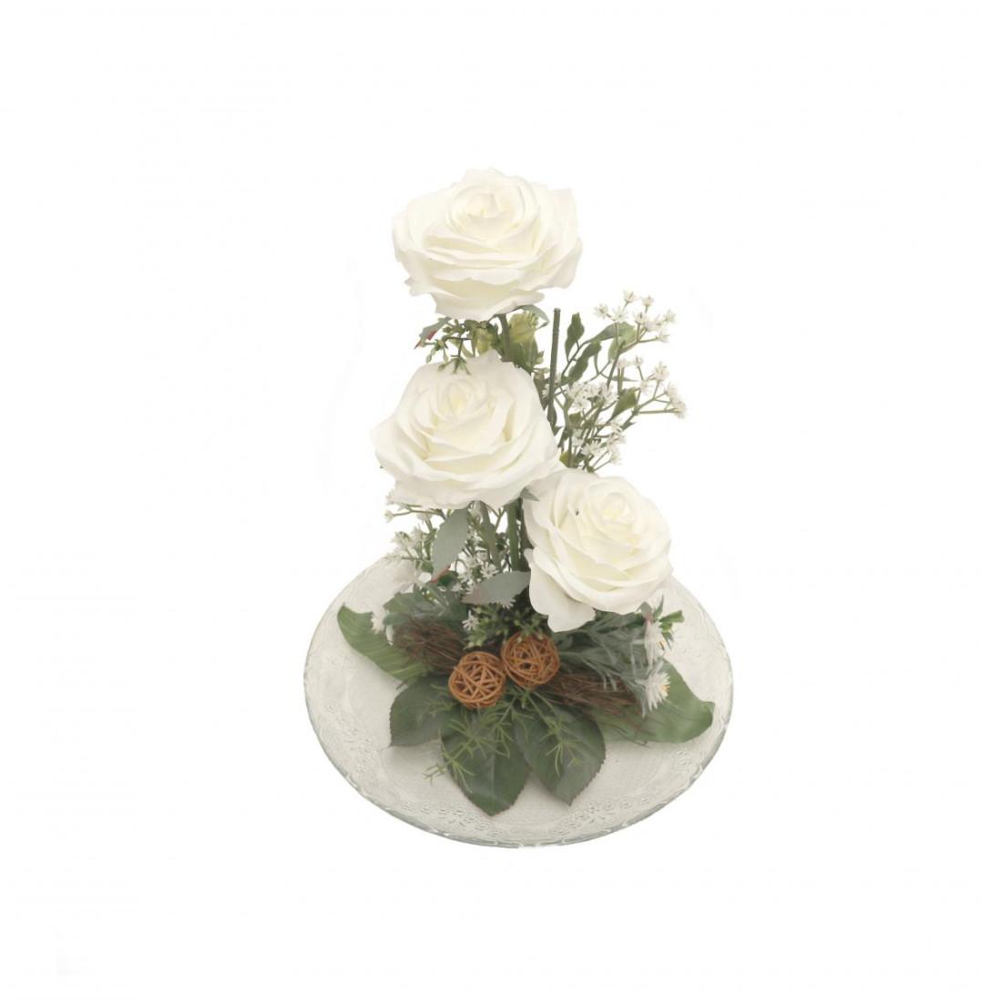 Rosengesteck Blumengesteck Tischgesteck Tischdeko Handgefertigt Höhe: 32cm 3 Rosen Rose N-12172-2 Weiß