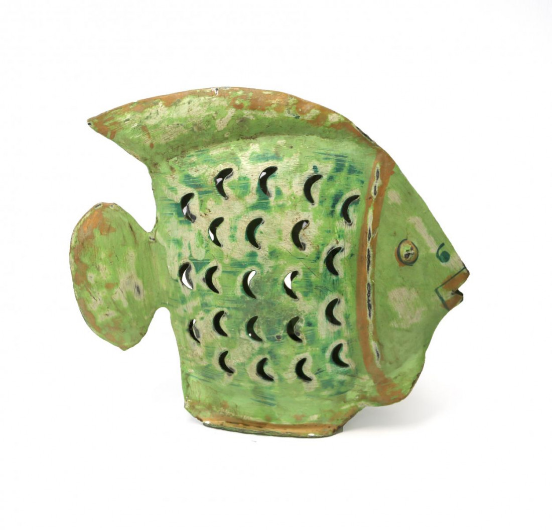 Metall Fisch Dekofisch Windlicht Laterne Gartendeko Garten Deko Dekoration Figur Dekofigur Metall 28 cm grün 206615