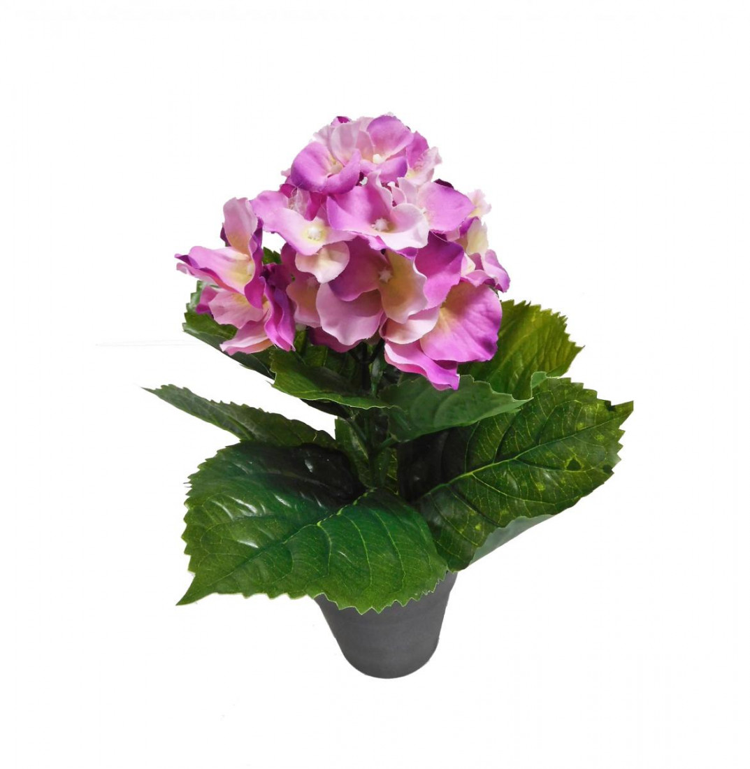 Hortensie Kunstblume Kunst Blume pink 30 cm 3316350-81 im Topf F46