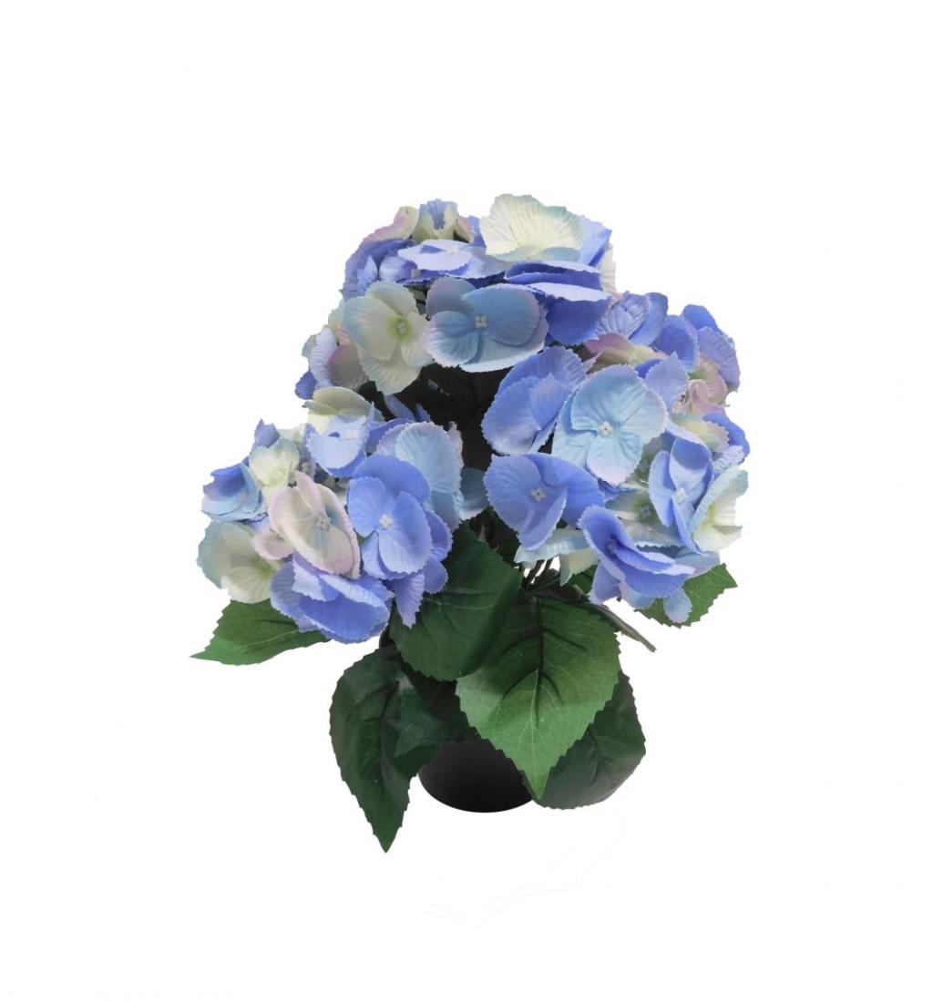 Hortensie Kunstpflanze Kunst Pflanze Deko Dekopflanze Topfpflanze Kunstblume Blume künstlich unecht Topf blau hellblau 35 cm N-51603-4 getopft F61