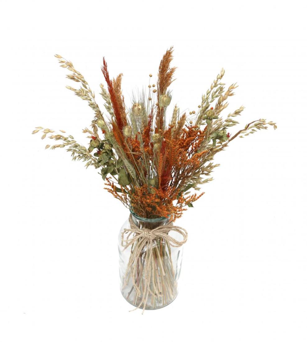 DIY Trockenblumen Set Orange   Getrocknete Blumen   Basteln Dekoblüten Tischdeko Geschenkidee Natürlich Boho Trockenblumenset  