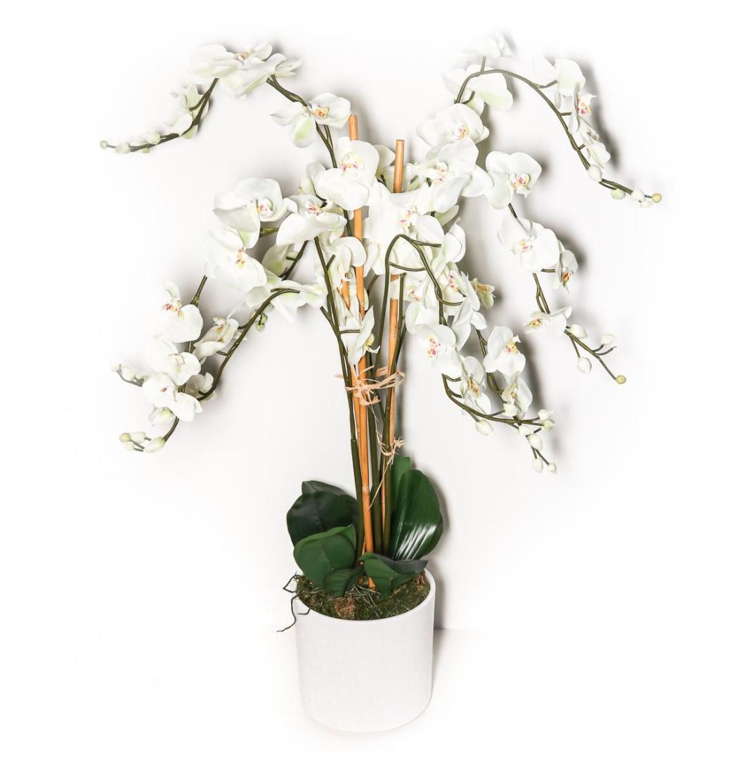 XXL Orchidee Phalaenopsis Kunstorchidee Kunstpflanze Dekopflanze Künstlich Kunstblume Pflanze Blume   groß Weiss Naturgetreu   6 Rispen mit Topf   Innenbereich Aussenbereich Wetterfest