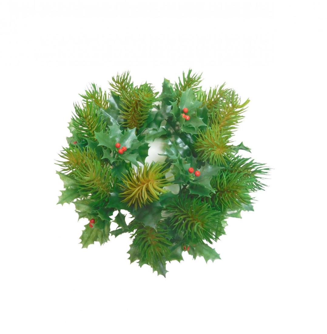 Tannenkranz Kranz Tanne Ilex Dekokranz Spritzguss Kunsttanne Weihnachten Winter Weihnachtskranz Adventskranz Weihnachtsdeko unecht grün 22 cm 325834-08 F38