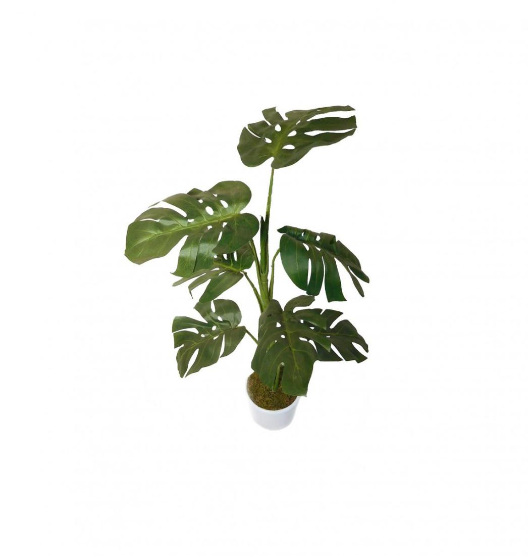 Monstera Blattpflanze Kunstpflanze Kunst Pflanze Deko Dekopflanze Topfpflanze Zimmerpflanze Grünpflanze künstlich unecht grün Topf 80 cm TC-83395-1 getopft F75