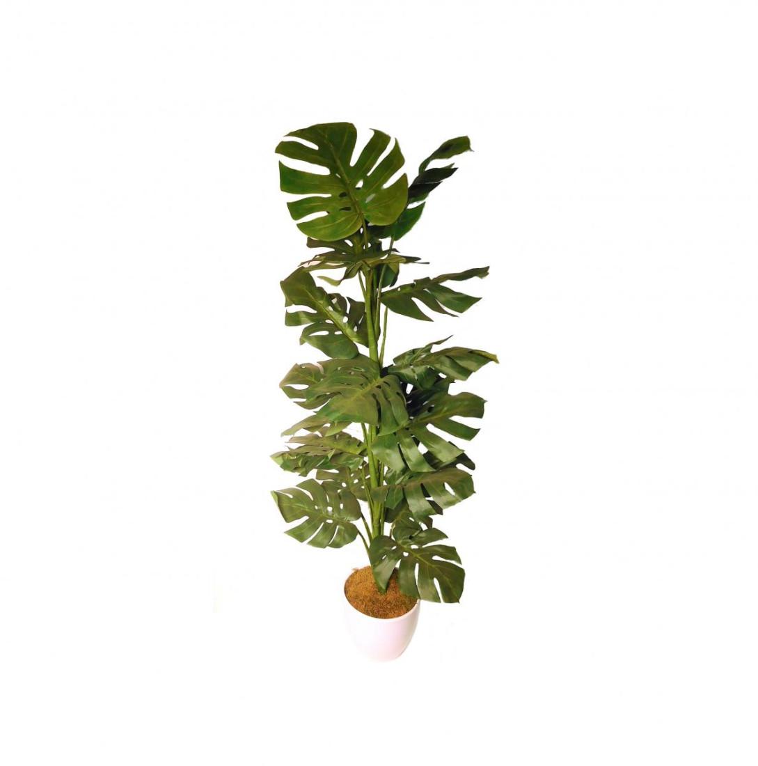 Monstera Blattpflanze Kunstpflanze Kunst Pflanze Deko Dekopflanze Topfpflanze Zimmerpflanze Grünpflanze künstlich unecht grün Topf 120 cm TC-83395-3 getopft F75