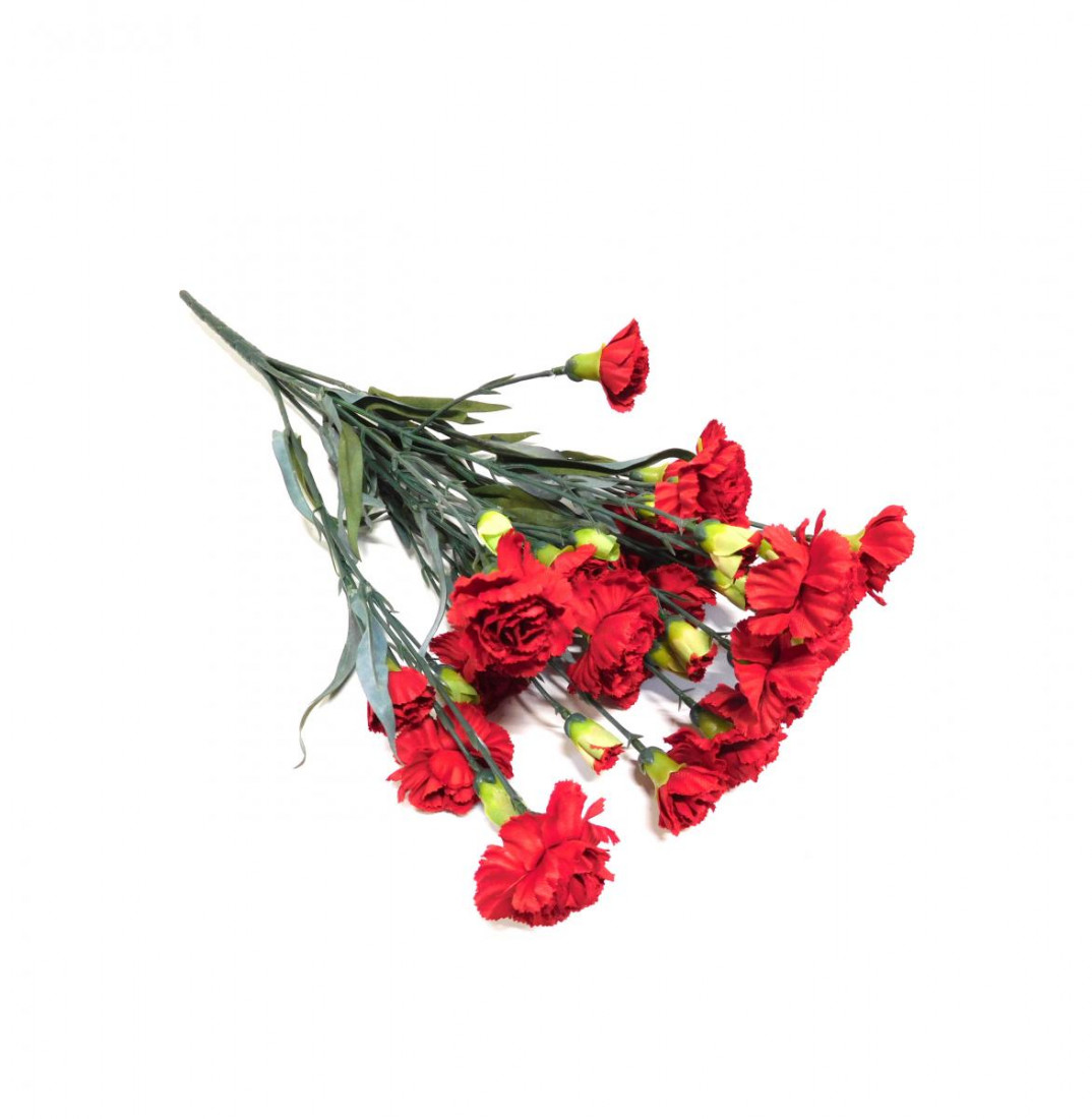 Nelke Nelkenstrauß Nelkenbusch Strauß künstlich Seidenblume Kunst Blume Blumenstrauß Kunstpflanze Strauß Kunstblume 48 cm 42302-02 rot F17