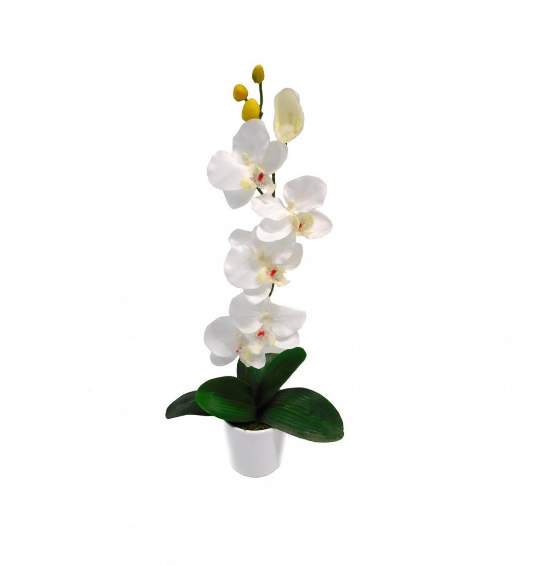 Orchidee Orchideenzweig Phalaenopsis Kunstpflanze Kunst Dekopflanze Topfpflanze Seidenblume Kunstblume Zimmerpflanze Pflanze Blume künstlich unecht Topf Keramik 50 cm weiß 60301-05 getopft F73