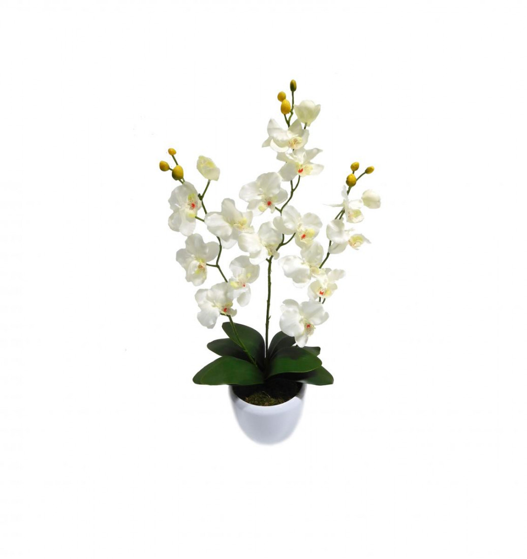 Orchidee 3 Rispen Orchideenzweig Phalaenopsis Kunstpflanze Kunst Dekopflanze Topfpflanze Seidenblume Kunstblume Pflanze Blume künstlich unecht Topf Keramik 65 cm weiß 60301-05 getopft F73
