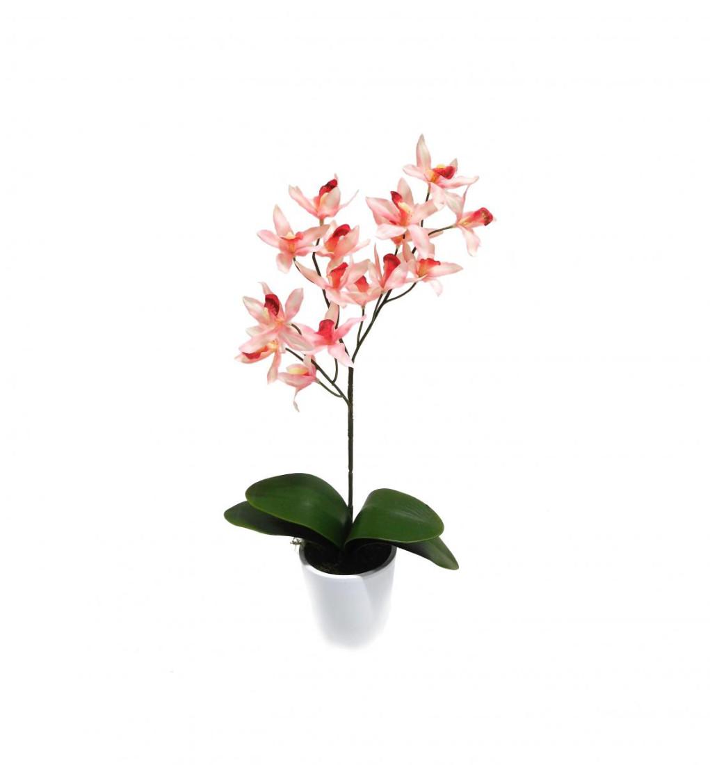 Orchidee Orchideenzweig Cymbidie Kunstpflanze Kunst Dekopflanze Topfpflanze Seidenblume Kunstblume Zimmerpflanze Pflanze Blume künstlich unecht Topf Keramik 50 cm rosa getopft N-11638-7 F72