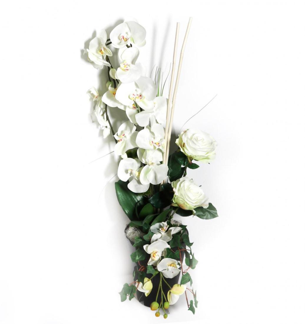 Orchidee Blumengesteck mit Rosen (Groß) weiß 144 PM-0058