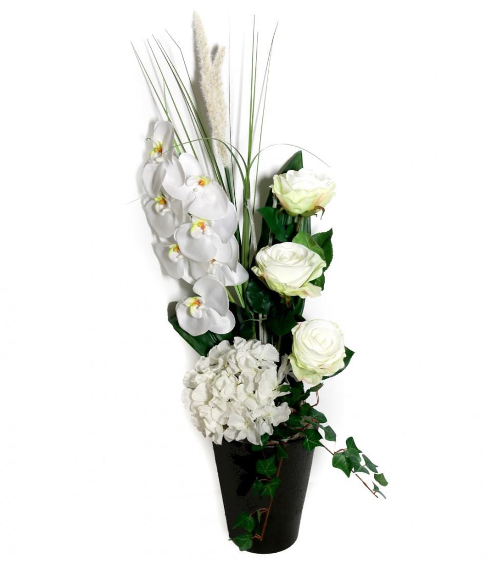 Orchidee Blumengesteck mit Hortensie und Rosen (Groß) PM-0059