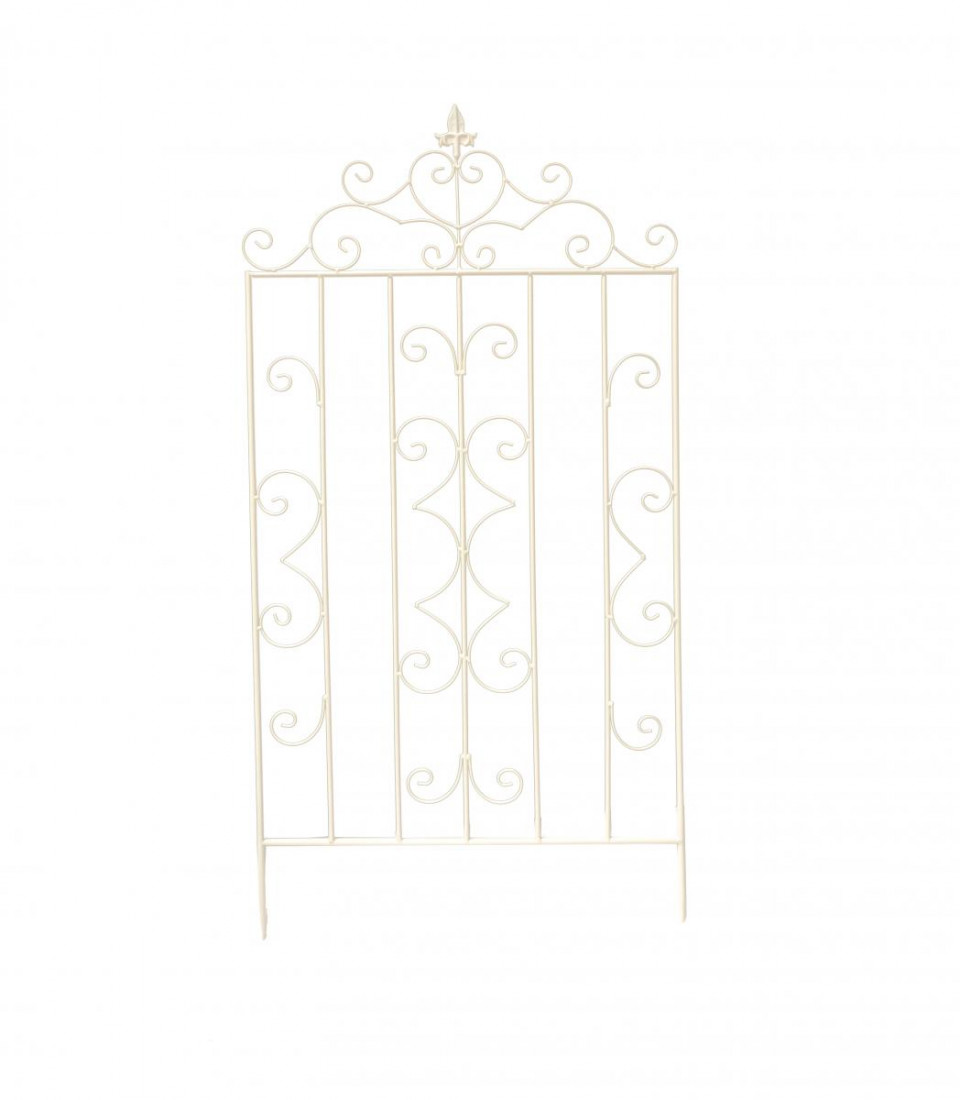 Rankgitter Metall Gitterspalier Rankhilfe für Kletterpflanze Gitter Spalier Klettergitter Vintage Garten Höhe 125cm Weiß SW100712RV