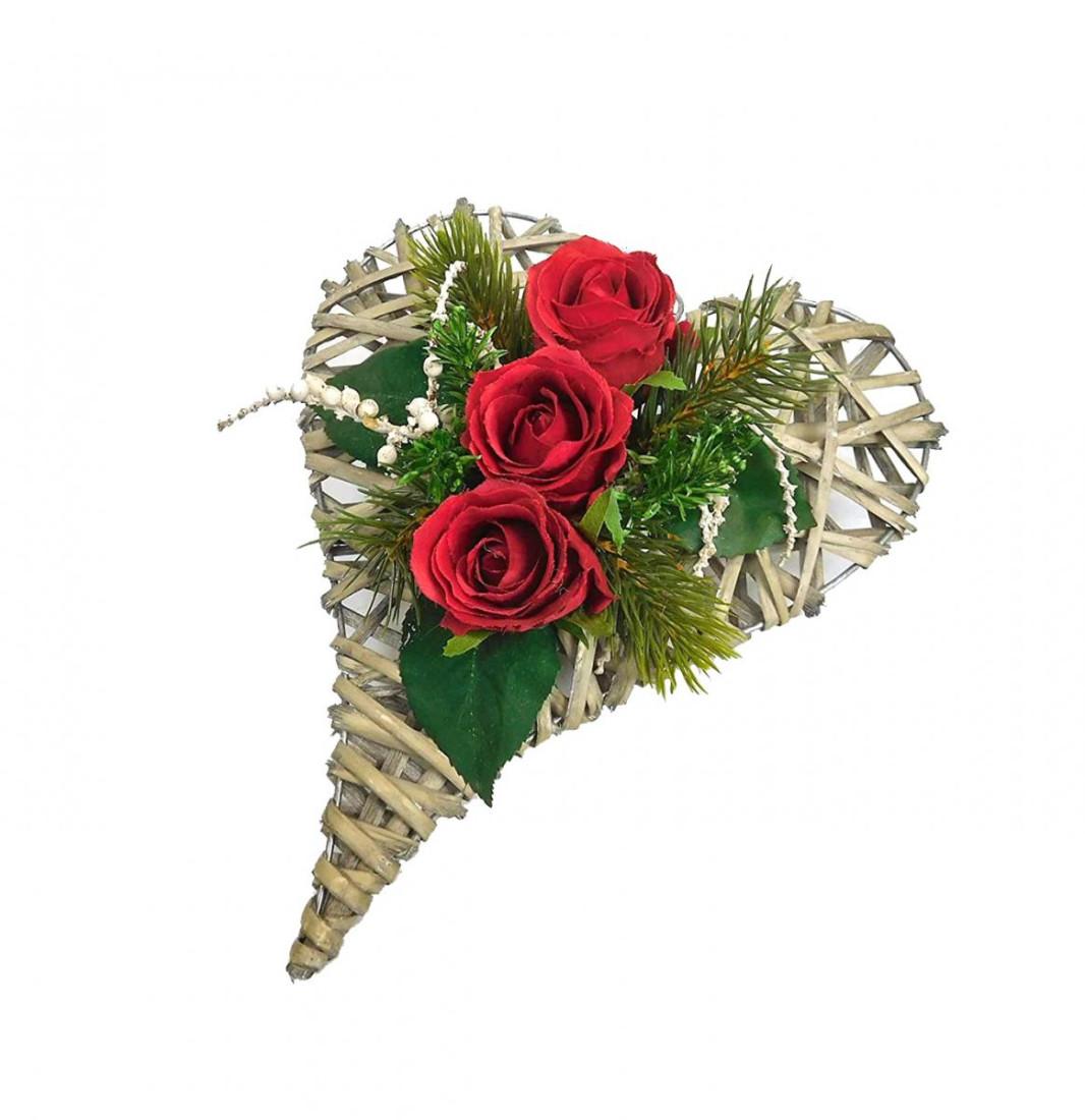 Rattanherz Rosengesteck Rosenherz Tischgesteck Tischdeko Herz 3 Rosen rot (7)