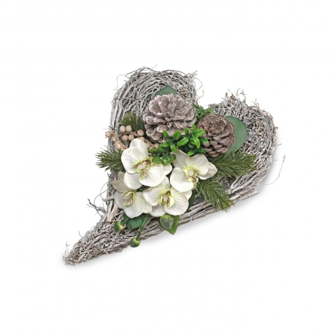 Rebenherz Rosengesteck Rosenherz Grabgesteck Tischgesteck Tischdeko Herz Creme weiß mit Orchideen