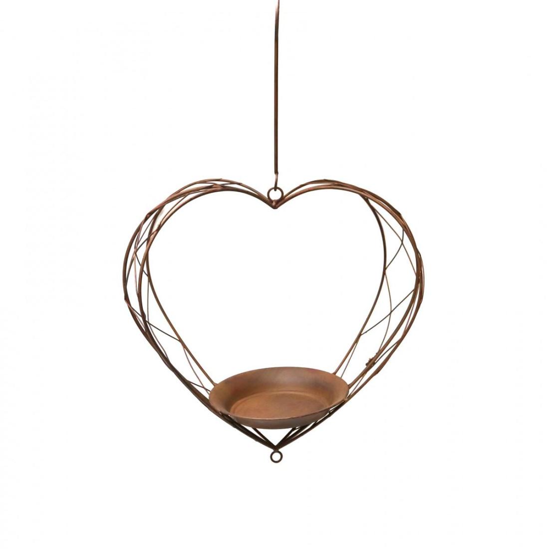 Blumenampel Hängeampel Metall Herz Pflanzampel Ampel Pflanzenhalter zum aufhängen Futterschal Vogeltränke Rostoptik-SW190105