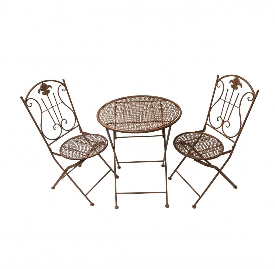 Gartenmöbel - 3tlg. Gartenset aus Metall - Gartentisch mit 2 Stühle – balkonmöbel Bistroset - Klapptisch Klappsessel in Rost- optik Vintage Antiklook SW200004/5