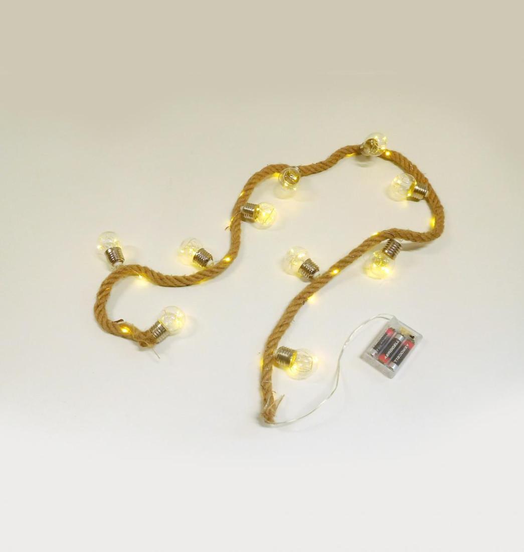 Seil Tau Sisal LED beleuchtet Beleuchtung Lichterkette 150 cm 772975 F78