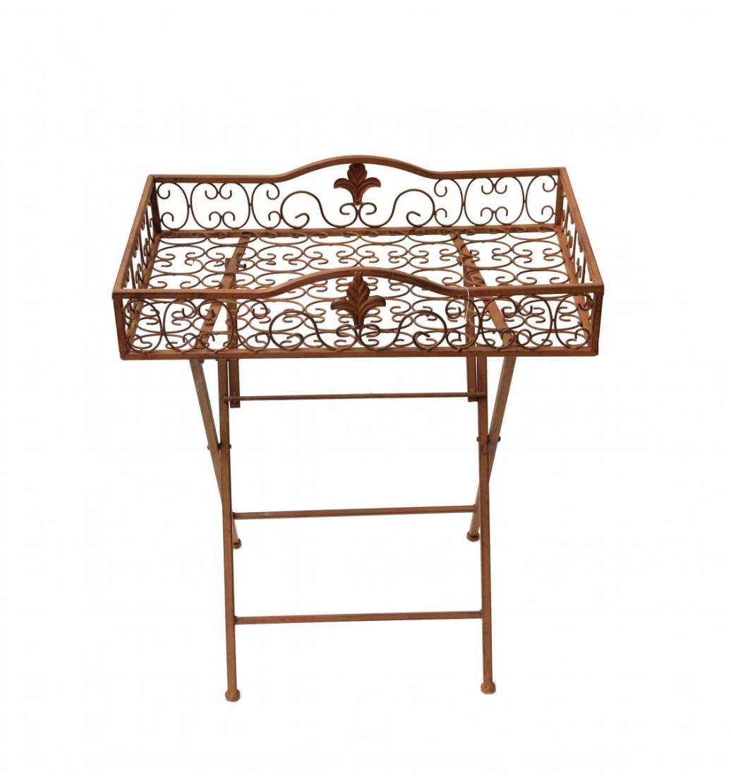 Gartentisch Balkontisch Tisch Metall Metalltisch Beistelltisch Blumenhocker Hocker Kaffeetisch Garten braun eckig WK020551