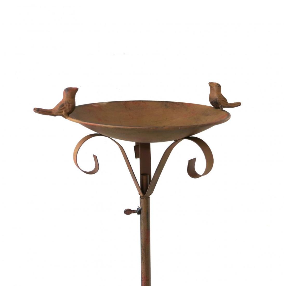 Metall Rankstab Vogeltraenke Vogeltränke Futterschale Rankstab Dekostab Garten Metall Gartendeko Gartenstecker braun H 120 cm SW150075